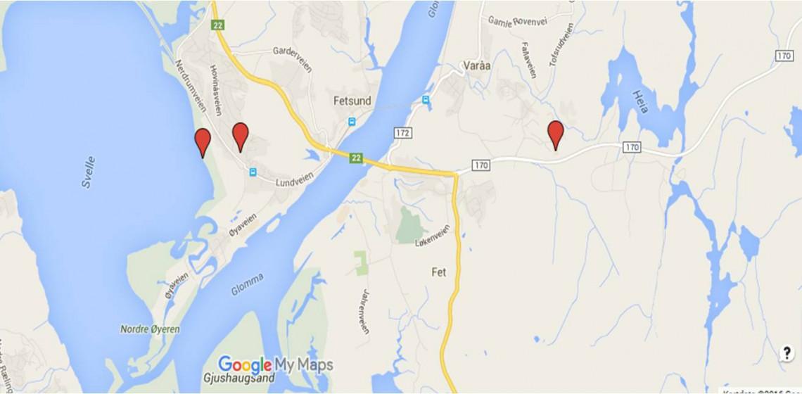 Kartet viser hvor skøytebanene på Dulpemyra ved Ramstadskogen og Pålsebakken på Nerdrum ligger. I tillegg er beste utgangspunkt for å gå på skøyter på Svellet markert.